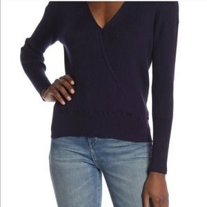 Elodie Nordstrom Blue Sweater Ripped Wrap Top